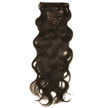 "16"" Chocolate Brown (#4) 7pcs Wavy Clip In Indian Remy Human Hair Extensions"