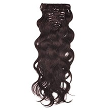 """16"""" Dark Brown (#2) 10PCS Wavy Clip In Indian Remy Human Hair Extensions"""