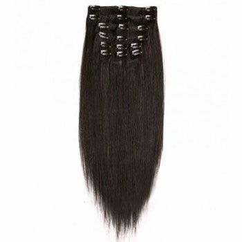 """16"""" Dark Brown (#2) 7pcs Clip In Brazilian Remy Hair Extensions"""