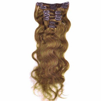 """16"""" Golden Blonde (#16) 9PCS Wavy Clip In Brazilian Remy Hair Extensions"""