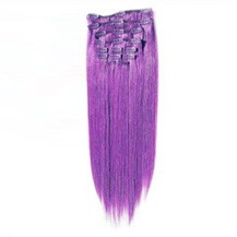 "16"" Lila 7pcs Clip In Indian Remy Human Hair Extensions"