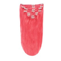"16"" Pink 10PCS Straight Clip In Indian Remy Human Hair Extensions"
