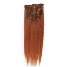 "16"" Vibrant Auburn (#33) 10PCS Straight Clip In Brazilian Remy Hair Extensions"