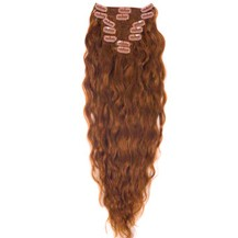 "16"" Vibrant Auburn (#33) 7pcs Wavy Clip In Indian Remy Human Hair Extensions"