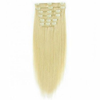 """16"""" White Blonde (#60) 7pcs Clip In Indian Remy Human Hair Extensions"""
