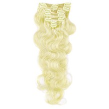 "16"" White Blonde (#60) 9PCS Wavy Clip In Brazilian Remy Hair Extensions"