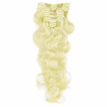 """16"""" White Blonde (#60) 9PCS Wavy Clip In Brazilian Remy Hair Extensions"""