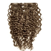 """18"""" Ash Brown (#8) 9PCS Curly Clip In Indian Remy Human Hair Extensions"""