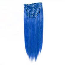 "18"" Blue 7pcs Clip In Indian Remy Human Hair Extensions"
