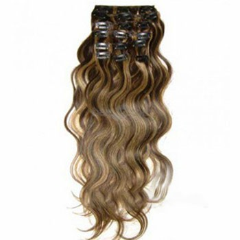 """18"""" Brown/Blonde (#4_27) 7pcs Wavy Clip In Indian Remy Human Hair Extensions"""