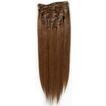 """18"""" Chestnut Brown (#6) 9PCS Straight Clip In Brazilian Remy Hair Extensions"""