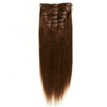 "18"" Chocolate Brown (#4) 7pcs Clip In Brazilian Remy Hair Extensions"