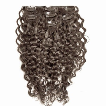 "18"" Chocolate Brown (#4) 7pcs Curly Clip In Indian Remy Human Hair Extensions"
