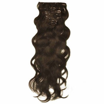 """18"""" Chocolate Brown (#4) 7pcs Wavy Clip In Brazilian Remy Hair Extensions"""