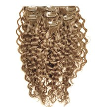 """18"""" Golden Blonde (#16) 9PCS Curly Clip In Indian Remy Human Hair Extensions"""