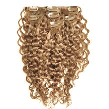 """18"""" Golden Brown (#12) 9PCS Curly Clip In Brazilian Remy Hair Extensions"""