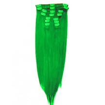 "18"" Green 7pcs Clip In Indian Remy Human Hair Extensions"