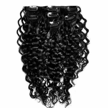 "20"" Jet Black (#1) 10PCS Curly Clip In Brazilian Remy Hair Extensions"