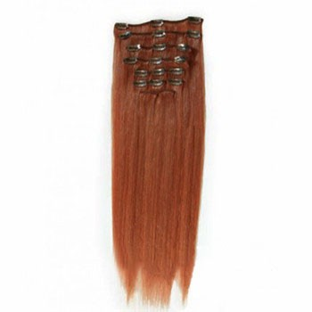 """20"""" Vibrant Auburn (#33) 7pcs Clip In Indian Remy Human Hair Extensions"""