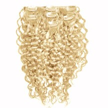 """22"""" Ash Blonde (#24) 9PCS Curly Clip In Indian Remy Human Hair Extensions"""