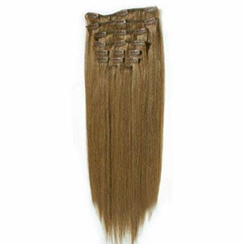 "22"" Ash Brown (#8) 7pcs Clip In Synthetic Hair Extensions"