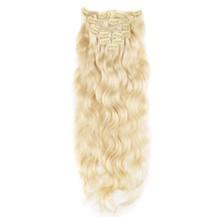 "22"" Bleach Blonde (#613) 7pcs Wavy Clip In Brazilian Remy Hair Extensions"