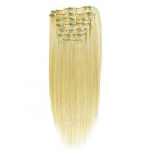 """22"""" Bleach Blonde (#613) 9PCS Straight Clip In Brazilian Remy Hair Extensions"""