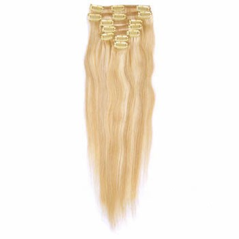 "22"" Blonde Highlight (#18/613) 7pcs Clip In Indian Remy Human Hair Extensions"