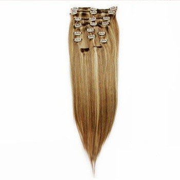 """22"""" Brown/Blonde (#8/613) 7pcs Clip In Brazilian Remy Hair Extensions"""