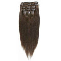 "22"" Chocolate Brown (#4) 7pcs Clip In Synthetic Hair Extensions"