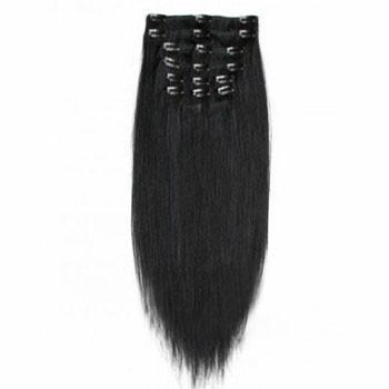 "22"" Jet Black (#1) 7pcs Clip In Brazilian Remy Hair Extensions"