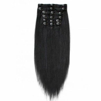 """22"""" Jet Black (#1) 7pcs Clip In Indian Remy Human Hair Extensions"""
