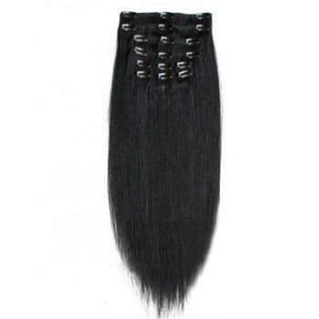 "22"" Jet Black (#1) 7pcs Clip In Synthetic Hair Extensions"