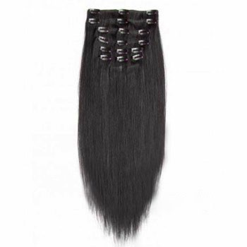 """22"""" Off Black (#1b) 7pcs Clip In Indian Remy Human Hair Extensions"""