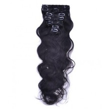 """22"""" Off Black (#1b) 7pcs Wavy Clip In Indian Remy Human Hair Extensions"""