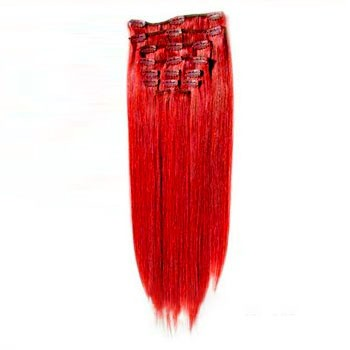 "22"" Red 7pcs Clip In Indian Remy Human Hair Extensions"