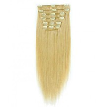 """24"""" Ash Blonde (#24) 9PCS Straight Clip In Indian Remy Human Hair Extensions"""