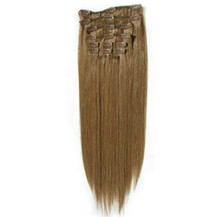 """24"""" Ash Brown (#8) 9PCS Straight Clip In Indian Remy Human Hair Extensions"""