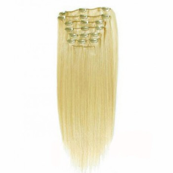 """24"""" Bleach Blonde (#613) 7pcs Clip In Indian Remy Human Hair Extensions"""