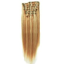 """24"""" Blonde Highlight (#27/613) 9PCS Straight Clip In Indian Remy Human Hair Extensions"""