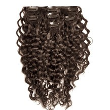 "24"" Dark Brown (#2) 7pcs Curly Clip In Brazilian Remy Hair Extensions"