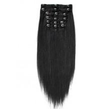 "24"" Jet Black (#1) 7pcs Clip In Brazilian Remy Hair Extensions"