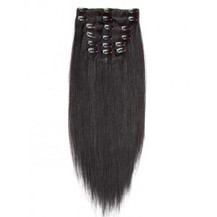"24"" Off Black (#1b) 7pcs Clip In Indian Remy Human Hair Extensions"