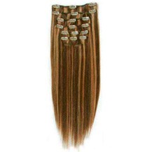 """28"""" Brown/Blonde (#4_27) 7pcs Clip In Brazilian Remy Hair Extensions"""