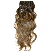 """28"""" Brown/Blonde (#4_27) 7pcs Wavy Clip In Indian Remy Human Hair Extensions"""