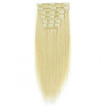 """28"""" White Blonde (#60) 7pcs Clip In Brazilian Remy Hair Extensions"""