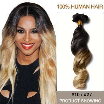 "16"" Two Colors #1b And #27 Wavy Ombre Hair Extensions"