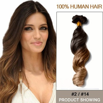 """16"""" Two Colors #2 And #14 Wavy Ombre Hair Extensions"""