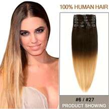 """16"""" Two Colors #6 And #27 Straight Ombre Hair Extensions"""