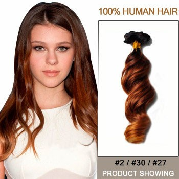 """18"""" Three Colors #2 And #30 And #27 Wavy Ombre Hair Extensions"""